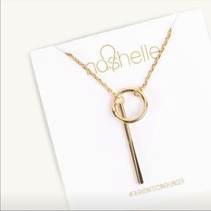 Nashelle Heather Drop Lariat necklace in gold